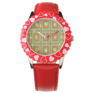 Modelo colorido cuadrado geométrico reloj de mano