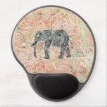Modelo colorido de la alheña del elefante tribal d alfombrilla de raton con gel