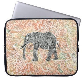 Modelo colorido de la alheña del elefante tribal d funda portátil