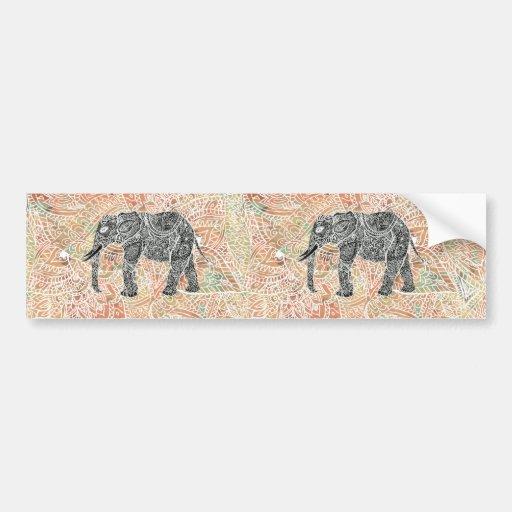 Modelo colorido de la alheña del elefante tribal d pegatina para auto