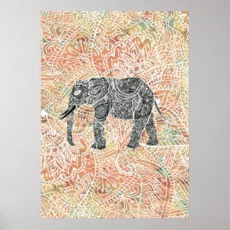 Modelo colorido de la alheña del elefante tribal d póster
