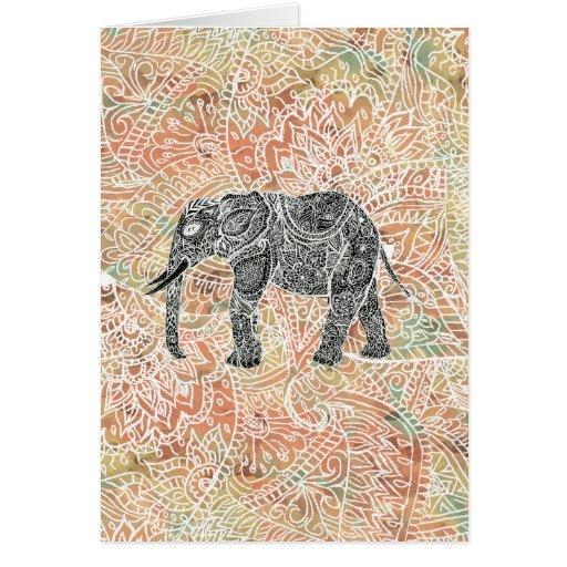 Modelo colorido de la alheña del elefante tribal d tarjeta de felicitación