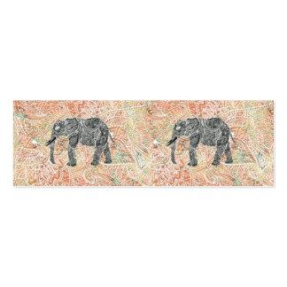 Modelo colorido de la alheña del elefante tribal d tarjetas de visita mini
