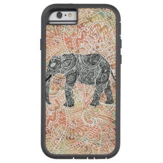 Modelo colorido de la alheña del elefante tribal funda para  iPhone 6 tough xtreme