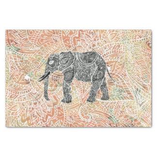 Modelo colorido de la alheña del elefante tribal papel de seda pequeño