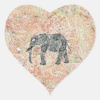 Modelo colorido de la alheña del elefante tribal pegatina corazón personalizadas
