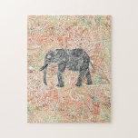 Modelo colorido de la alheña del elefante tribal puzzle