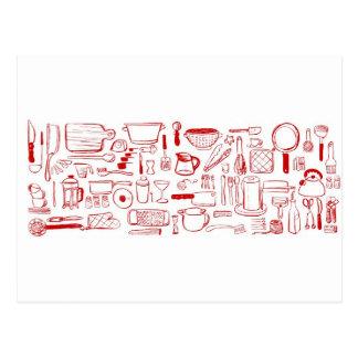 Modelo colorido de la cocina tarjetas postales