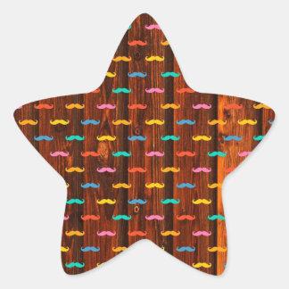 Modelo colorido de la diversión de los bigotes pegatina en forma de estrella