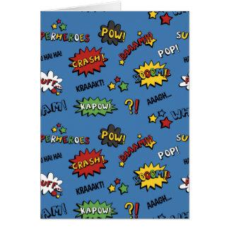 Modelo colorido de la diversión del super héroe tarjeta de felicitación