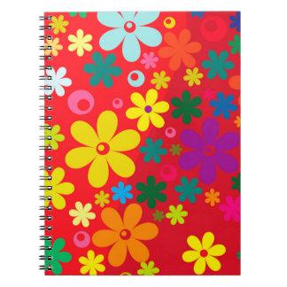 Modelo colorido de la paz del amor de las flores libro de apuntes con espiral