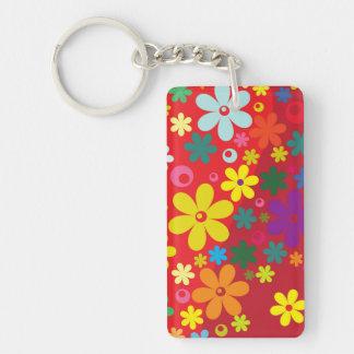 Modelo colorido de la paz del amor de las flores llavero rectangular acrílico a doble cara