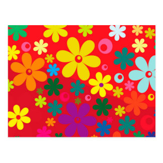 Modelo colorido de la paz del amor de las flores postales