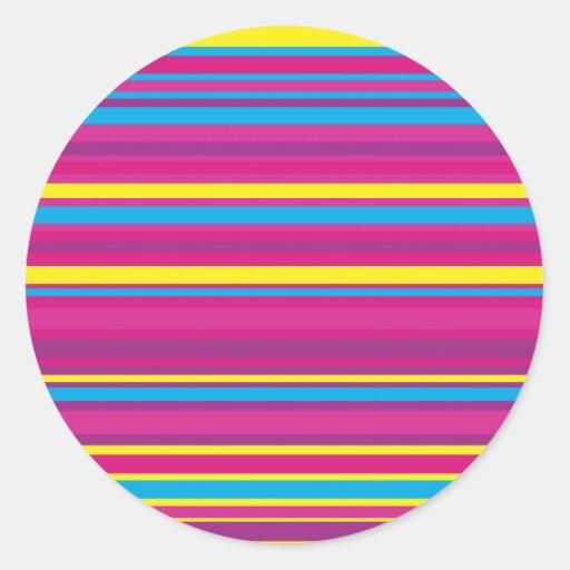 Modelo colorido de la raya pegatina redonda