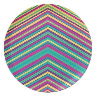 Modelo colorido de la raya plato de cena