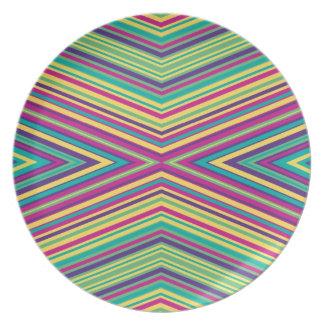 Modelo colorido de la raya platos para fiestas