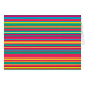 Modelo colorido de la raya tarjeta de felicitación