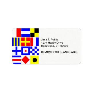 Modelo colorido de las banderas de señal náutica etiqueta de dirección