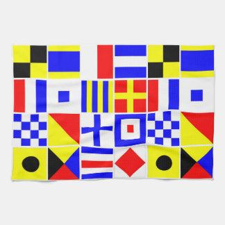 Modelo colorido de las banderas de señal náutica toallas