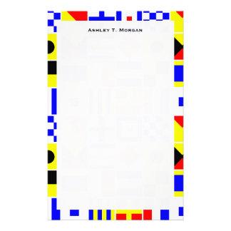 Modelo colorido de las banderas de señal náutica papeleria de diseño