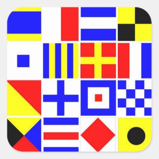 Modelo colorido de las banderas de señal náutica pegatina cuadrada