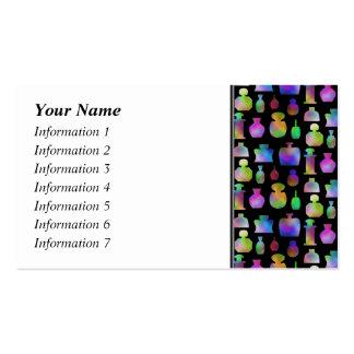 Modelo colorido de las botellas de perfume tarjetas de visita
