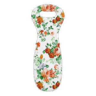Modelo colorido de las flores y de los rosas bolsas para botella de vino