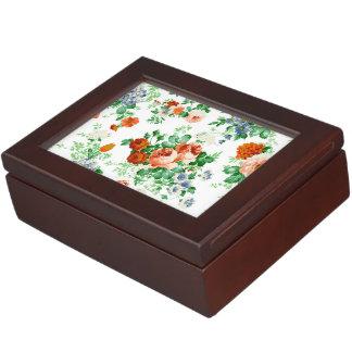 Modelo colorido de las flores y de los rosas caja de recuerdos