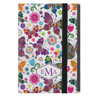 Modelo colorido de las mariposas y de flores del iPad mini funda