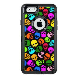 Modelo colorido de los cráneos en negro funda otterbox para iPhone 6/6s