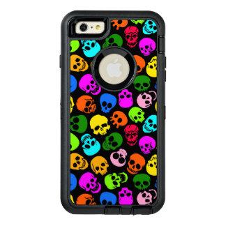 Modelo colorido de los cráneos en negro funda otterbox para iPhone 6/6s plus