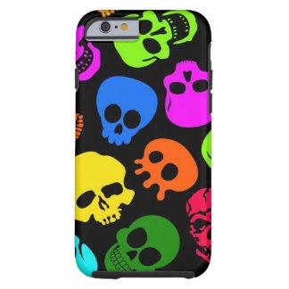 Modelo colorido de los cráneos en negro funda para iPhone 6 tough