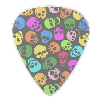 Modelo colorido de los cráneos en negro púa de guitarra acetal