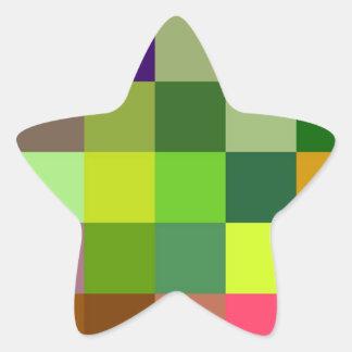 Modelo colorido de los cuadrados pegatina en forma de estrella