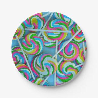 Modelo colorido de los lollipops plato de papel de 7 pulgadas