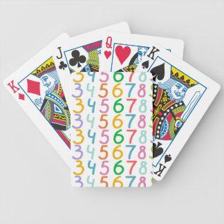 Modelo colorido de los números baraja cartas de poker