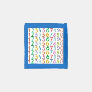 Modelo colorido de los números bolsa reutilizable