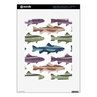 Modelo colorido de los pescados de la trucha de la iPad 3 pegatinas skins