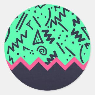 Modelo colorido de neón de las formas de la etiqueta redonda