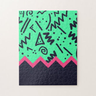Modelo colorido de neón de las formas de la rompecabeza con fotos