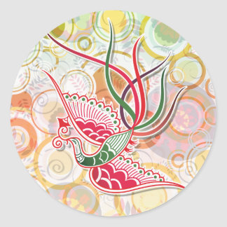 Modelo colorido de Phoenix Pegatina Redonda