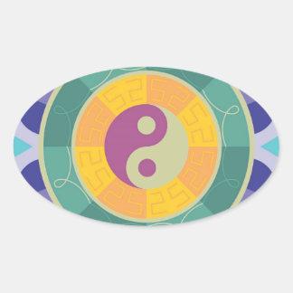 Modelo colorido de Yin Yang Pegatina Ovalada