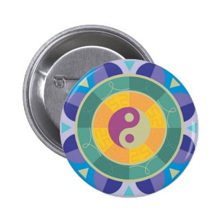 Modelo colorido de Yin Yang Pin Redondo De 2 Pulgadas
