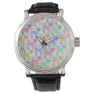Modelo colorido del amante de la chihuahua relojes de pulsera