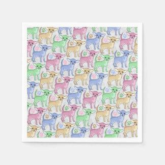 Modelo colorido del amante de la chihuahua servilletas de papel