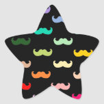 Modelo colorido del bigote del arco iris en negro calcomanía forma de estrella