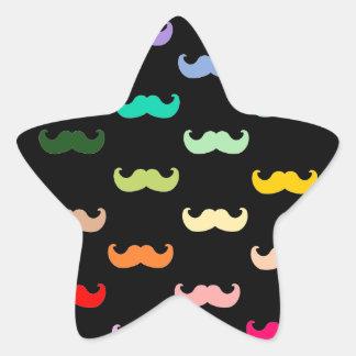 Modelo colorido del bigote del arco iris en negro pegatina en forma de estrella