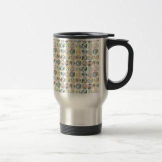 Modelo colorido del búho - pasteles polvorientos taza de viaje de acero inoxidable