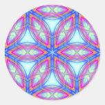 Modelo colorido del caleidoscopio azul y rosado pegatina redonda