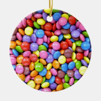 Modelo colorido del caramelo de chocolate adorno navideño redondo de cerámica